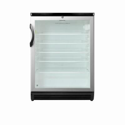 Glass Door Mini Refrigerator In Black With Lock