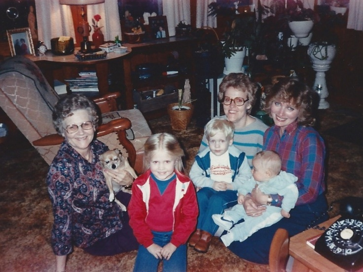 Margorie Gillim Swope & pet, Michelle, Bob, Donna Swope, baby Sean and Connie Gillim Hughes