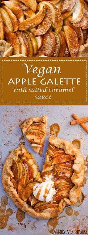 Vegane Apfel-Galette mit gesalzener Karamellsoße
