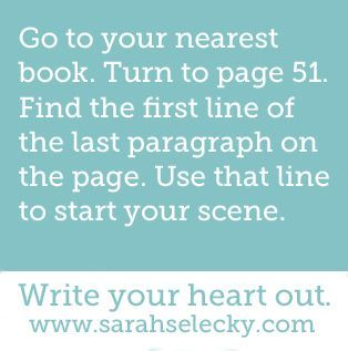 It's Writing Prompt Wednesday! This one comes from Sarah Selecky. Check out her site, it has TONS of writer's resources. Write your answer in the comments section, or link back to my bl…