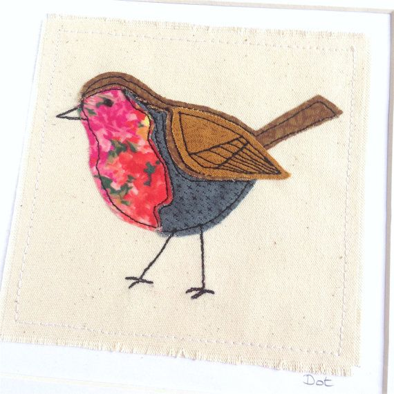 Robin greeting card, personalised machine embroidered stitched fabric applique. British bird Unframed art. Nature wildlife birthday blank