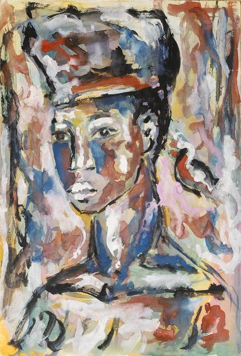 By Gerard Sekoto (1913-1993, South African), Portrait of an African woman, gouache.