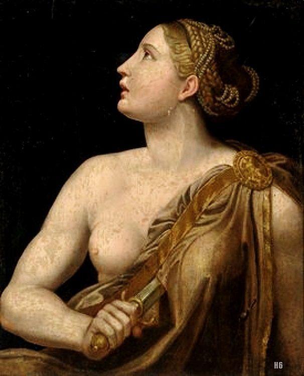 Lucretia. After Girolamo Francesco Maria Mazzola   Parmigianino. Italian  1503 1540. Oil
