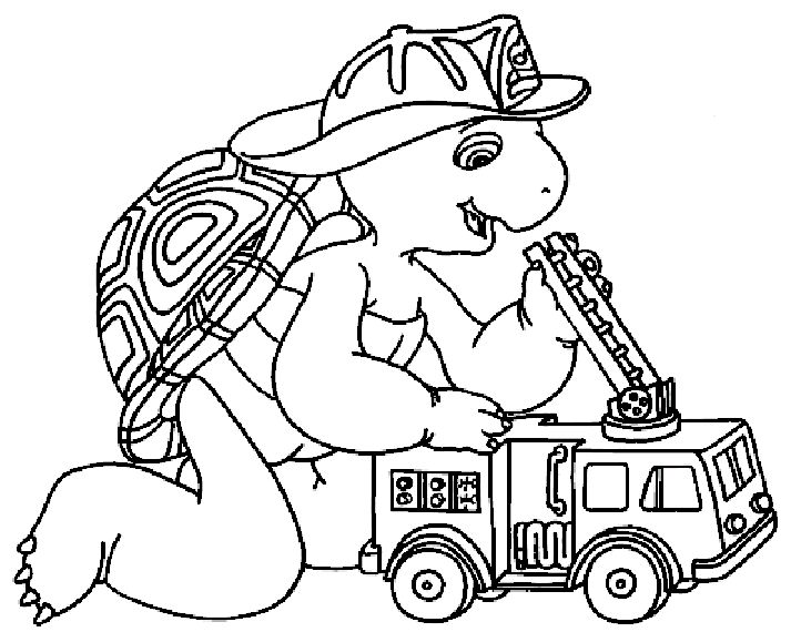 Franklin Become A Firefighter Coloring Pages For Kids Printable