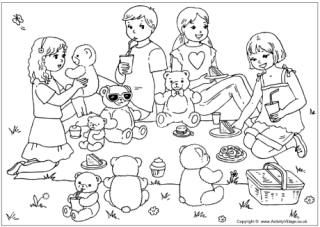 Teddy bear's picnic colouring page