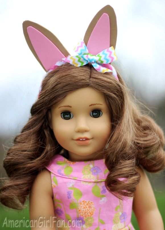 Easter bunny ears headband for dolls! (Click through for tutorial)