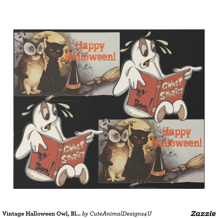 Vintage Halloween Owl, Black Cat and Ghost Wrapping Paper
