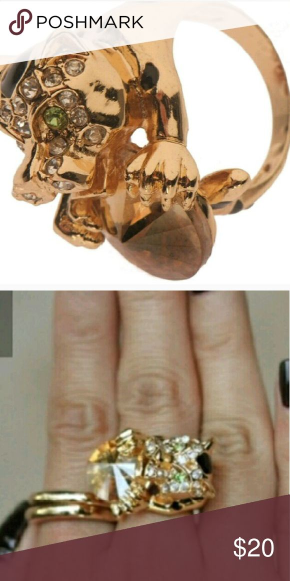 LABOR DAY SALE Swarovski T&J Beautiful Ring Size 7 Leopard Swarovski  T&J Beautiful Ring Size 7 T&J Designs Jewelry Rings