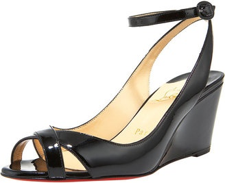 ShopStyle: Christian Louboutin Patent Ankle-Wrap Wedge SandalPatent Ankle Wraps, Ankle Wraps Wedges, Wedge Sandals, Christian Louboutin, Wedges Sandals, Louboutin Patent, Anklewrap Wedges