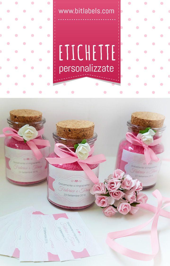 Idea per bomboniera: sale da bagno + vasetto vetro sughero + etichette  Bit Labels  http://www.bitlabels.com/it/etichetta-matrimonio