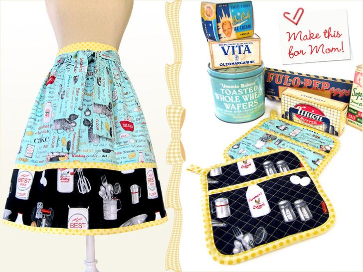 Mother's Day with Fabric.com: Retro Half Apron with Matching Hot Pads | Sew4Home