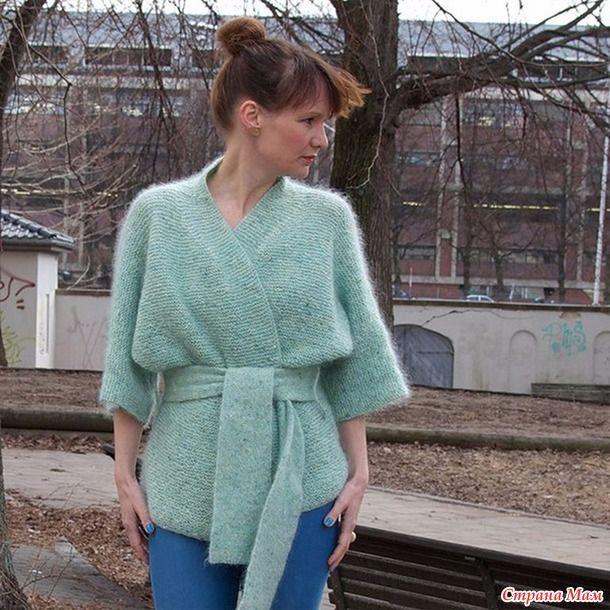 Жакет-кимоно спицами