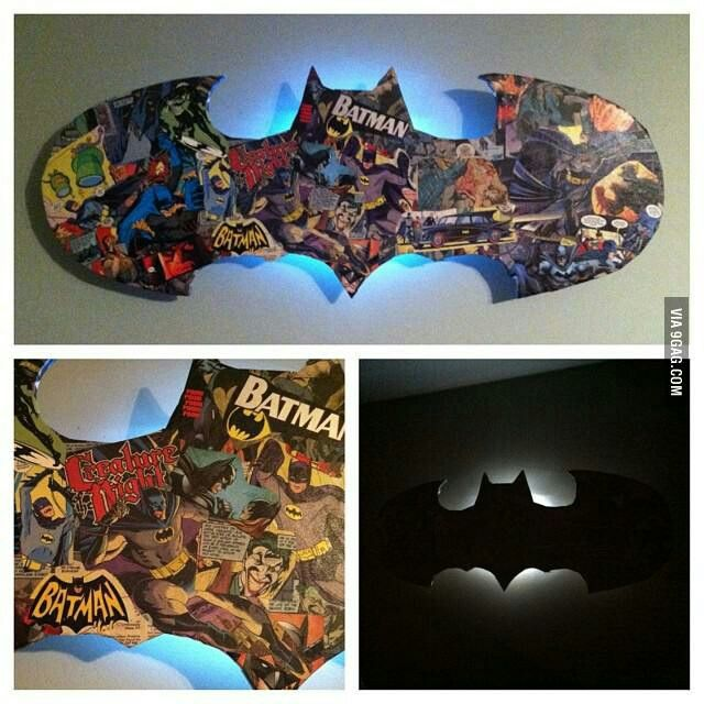 Easy, awesome gift idea!! Materials: comic book of choice, stiff cardboard, basic wall sconce or lamp, decoupage glue