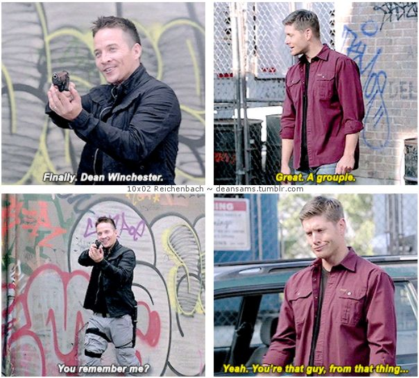 "10x02 Reichenbach [gifset] - ""Yeah. You're that guy, from that thing..."" - snarky demon Dean Winchester, Cole Trenton, Supernatural"