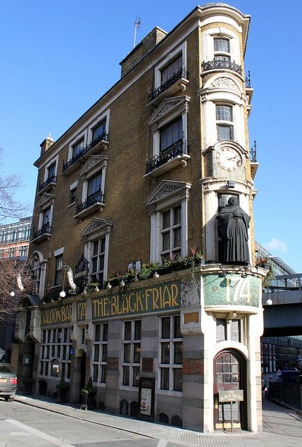 The Black Friar is a narrow wedge-shaped pub jammed against the railway line at Blackfriars. Built in 1875 near the site of a 13th c. Dominican Priory, which gives the area its name & was the inspiration for the pubs design. The exterior of the building has jutting wrought iron signs for each bar & the pub's name is displayed in mosaic tiles. A statue of a large, laughing friar stands guard above the main door. Though unusual, the exterior does not prepare you for the extraordinary interior.