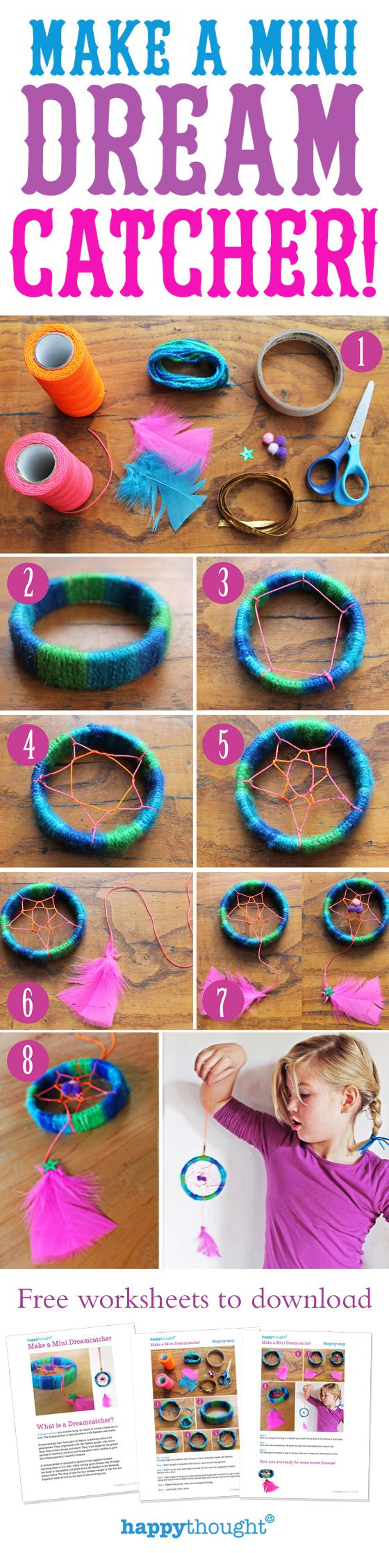 You too can make a mini dreamcatcher by using bits and pieces from your craft box at home and following this easy Happythought video tutorial. Sweet dreams!