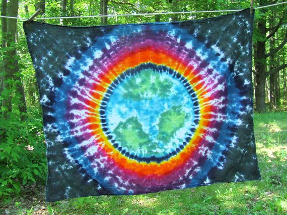 Tie Dye Tapestry  Planet Earth in Space   38x30 by twirlytoes