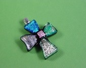 Fused glass dichroic pendant cross  Etsy: glassfrommyheart