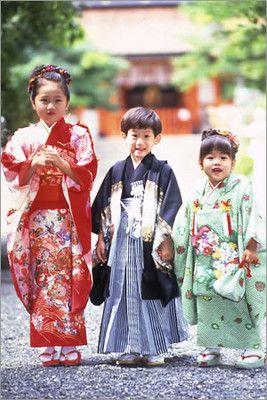 SHICHI (or Nana)-GO-SAN festival kimono worn by children - Japan