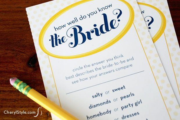 free printable bridal shower game – how well do you know the bride on www.CherylStyle.com