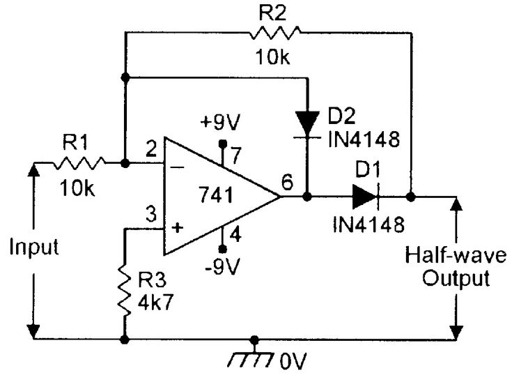 Precision half-wave rectifier. | Electronic schematics ...