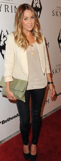 Who made Lauren Conrad's black skinny pants, white blazer, and black pumps that she wore in Los Angeles on November 8, 2011?