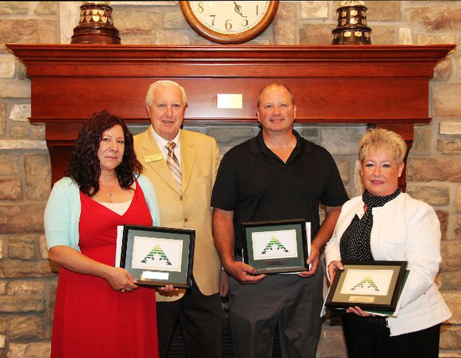 Enterprise Brant recently honoured local businesses that have succeeded after being assisted in their startup efforts by the Brantford agency. In the photo are  Tatjana Esseltine (left), of Peter Suess Transportation Consultant Inc.; Otto Heinzl,  chair of the Enterprise Brant board; Marley O'Donnell of AirCorrect Inc.;  and Lynne Hunter of United Transport Solutions Inc. (Submitted Photo)