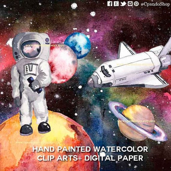 Outer space clipart planet watercolor clip art solar system images planets png…
