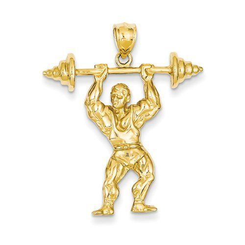 Black Bow Jewellery Company: Bodybuilder mit Barbell-Anhänger, 14 Karat Gelbgold    or in English    a Black Bow Jewelry Company. Bodybuilder with a Barbell overhead. 14 karat Gold.     Available through the German Amazon store