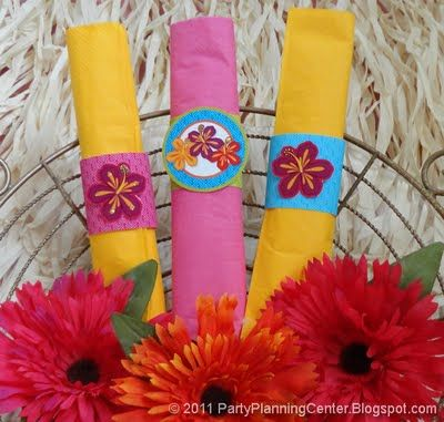 Free printable luau napkin rings from Party Planning Central - lots of great ideas on this site!