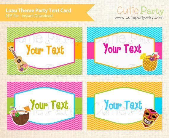 Hawaiian Tag: Luau Party Editable Tent Card, Hawaiian Party Tent Card