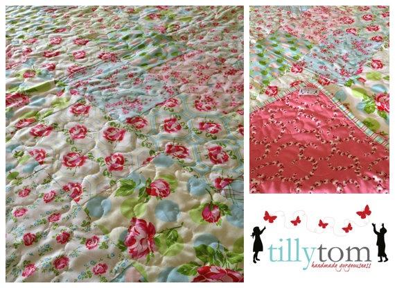 tillytom    cot / crib quilt tweet birds and by tillytomdesigns, $180.00