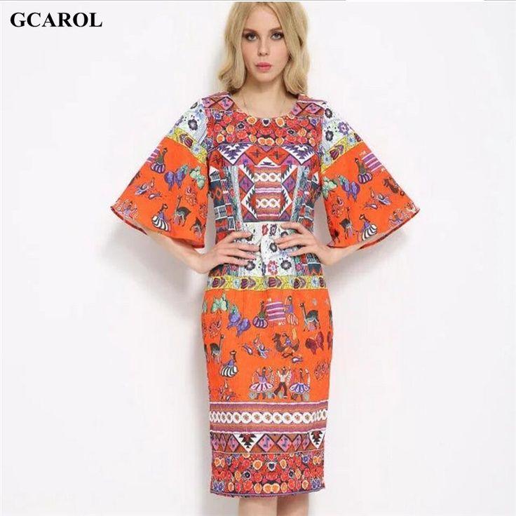 Women Digital Floral Printed Retro Dress Flare Sleeve Orange Vintage Dress Casual Fashion Summer Spring Ladies'Dress