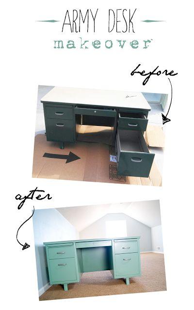 Vintage tanker desk makeover - before and after