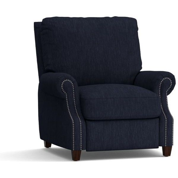 Pottery Barn James Upholstered Recliner (4.405 BRL) ❤ liked on Polyvore featuring home, furniture, chairs, recliners, navy, upholstered chairs, upholstery chairs, navy blue upholstered chair, navy upholstered chair and fabric recliner chair