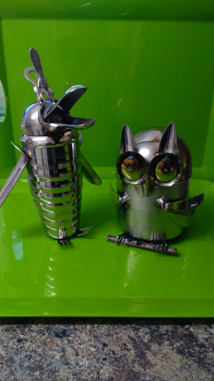 Dolphquin. & Ollie. Made from Kitchen utensils and medical equipment. #steam punk.