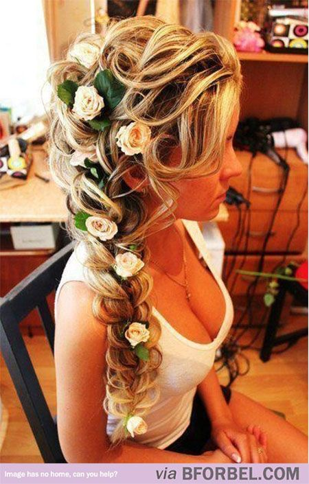 """b for bel: Awesome Hair: Rapunzel's Hair in """"Tangled"""" #Disney >> maybe w less flowers. This is pretty"""