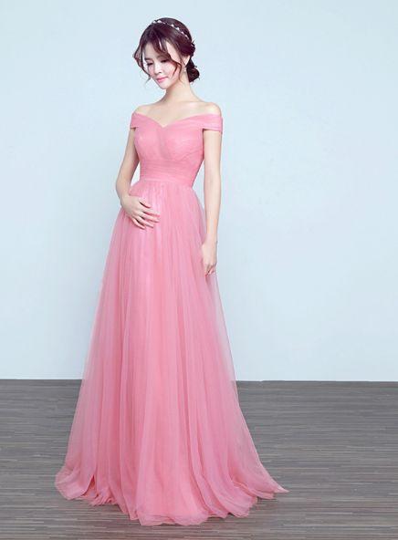 A line Off Shoulder Pink Prom Dress,Tulle Pregnant Dress,Sexy Off Shoulder Evening Dress