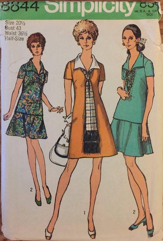 Vintage Simplicity 8844 (1970)  Since 20-1/2 Bust 43 Note: I also have this pattern in size 16 in my shop  Dress or Overblouse, Skirt and Scarf in Misses and Half-Sizes: The dress V. 1 and the overblouse V. 2 with back zipper have V shaped neckline, collar and short set-in sleeves. V. 1 features contrasting collar. V. 2 is worn over matching skirt with yoke, side zipper and waistband. The scarf has fringe trim. Pattern is complete with instructions. A few pieces have been neatly cut, the...