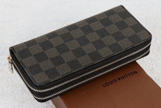 Кошелек Louis Vuitton LV из натуральной кожи, в темную клетку, двойной #18521