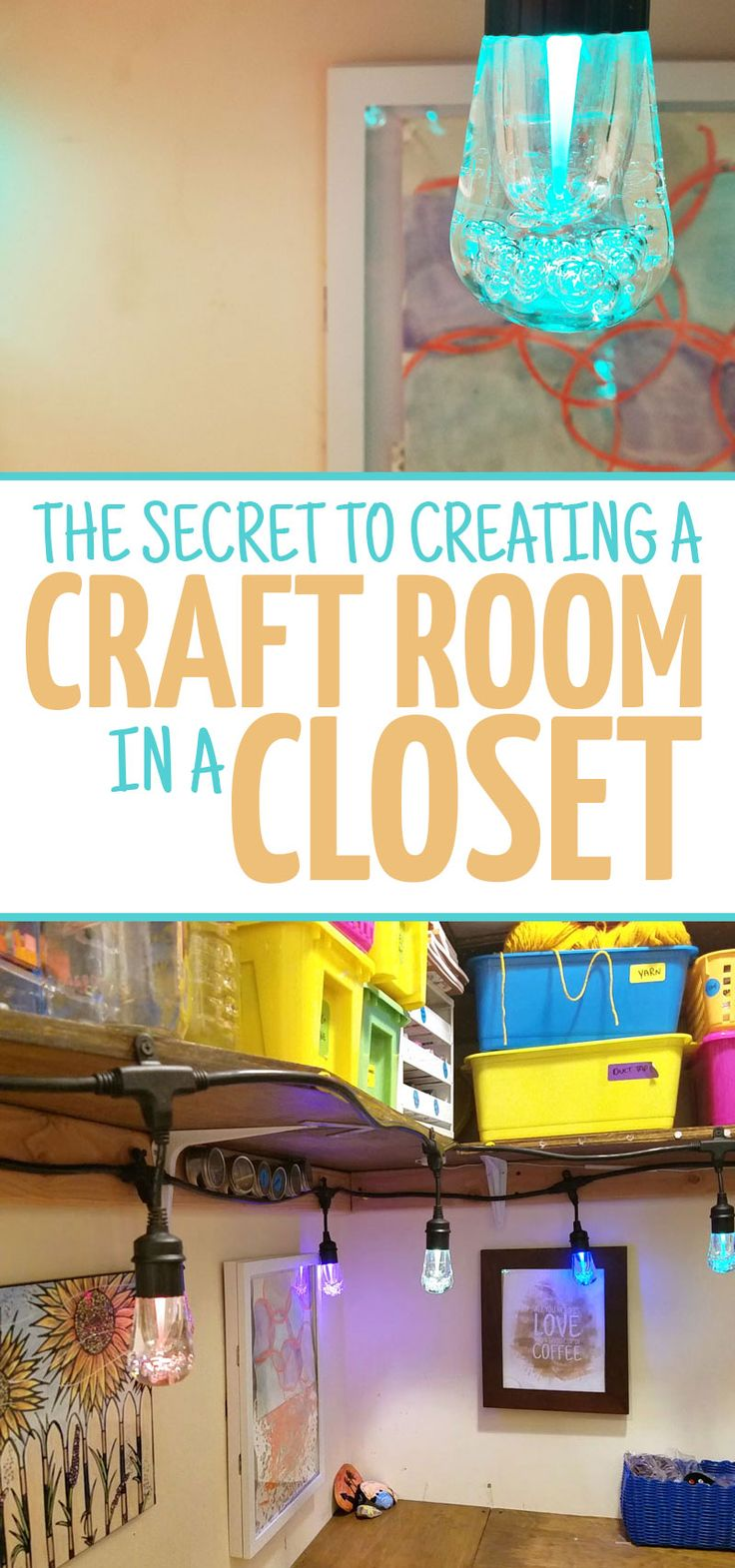 Check out the secret to making a craft room in a closet work - even though it's dark, claustrophobic, and, well, boring? This tip allows you to build a DIY craft room into a very small space such as a walk-in closet and still have it be functional - you'll love these craft room ideas especially for lighting! Sponsored by @Jascoproducts Enbrighten  #ColorCafeLights