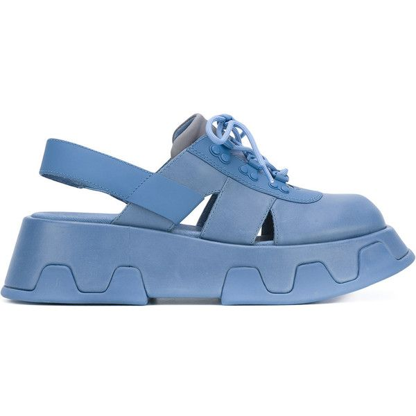Camper 'Wilma' platform sandals (390 NZD) ❤ liked on Polyvore featuring shoes, sandals, blue, blue sandals, camper sandals, blue platform shoes, camper footwear and real leather shoes