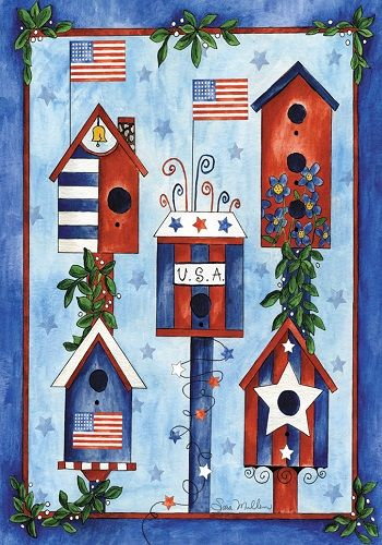 Accent Flag   Red White Blue Birdhouses Decorative Flag At Garden House  Flags At GardenHouseFlags
