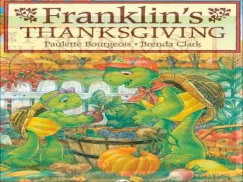 Franklin's Thanksgiving by Paulette Bourgeois. Franklin the turtle has a great Thanksgiving with his friends. This one is better for the older preschooler or for the parent willing to make the sentences shorter...Greta b/ Nov 2014