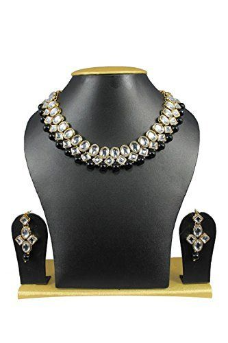 Elegant Black Pearls Wedding Wear Bollywood Indian Kundan Necklace Set By Ddivaa Ddivaa, http://www.amazon.com/dp/B01N5S8K91/ref=cm_sw_r_pi_dp_x_AyIuzbPADWQ8J
