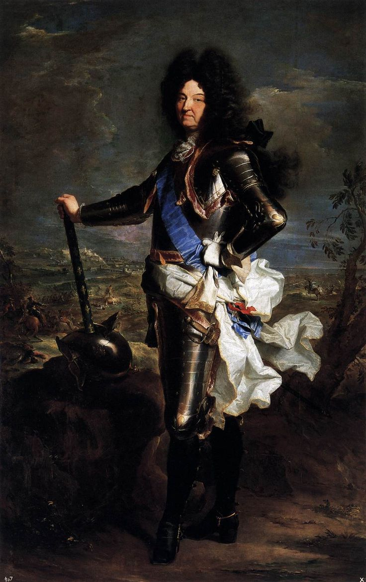 Louis XIV, King of France; by Hyacinthe Rigaud, c. 1701, in the Prado Museum.