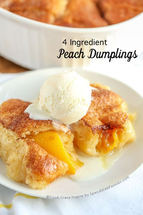 This is one of our favorite desserts! These 4 Ingredient Peach Dumplings are the perfect easy recipe! Starting with delicious canned peaches and crescent rolls they're easy to make and even easier to eat!
