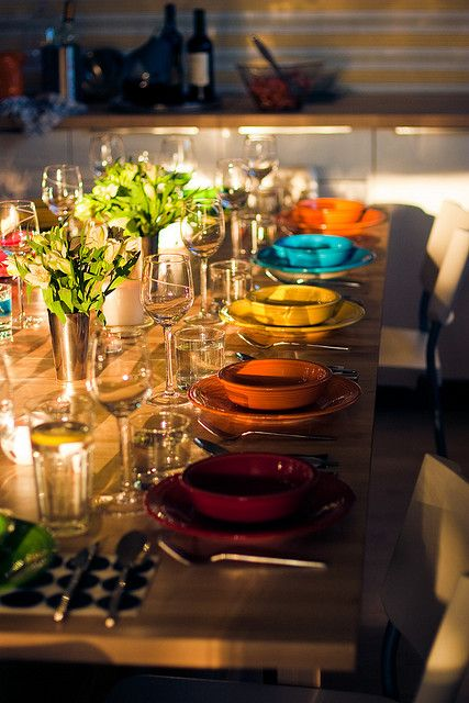 LOVE my fiest...this Fiestaware table scape is a favorite!  Special dinners or for a holiday!