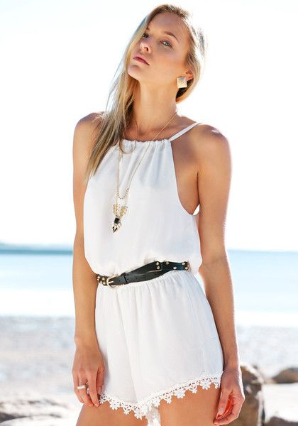 Drawstring Neckline Romper - White, This sweet romper features a drawstring rounded neckline, crochet hem detailing and cutout at back.
