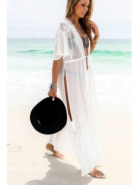 d80dcb3864e7b White Split Draw String Long Beach Cover Up Dress in 2019 | Outfits ...